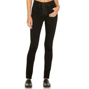 Rag & Bone black Lace-up High Rise Skinny Jeans